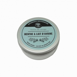 Savon de Rasage Bio - Menthe & Lait d'avoine - pot barbier- La Savonnerie Buissonnière